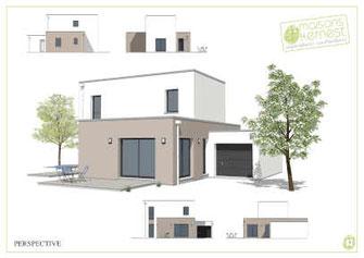 maison toit plat avec enduits marron clair et blanc