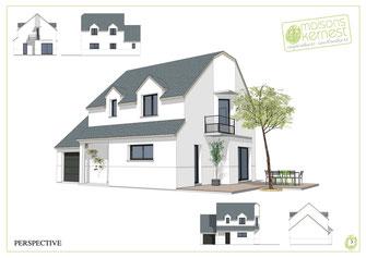 maison à étage avec ardoises bleu, enduit blanc, garage semi intégré et balcon privatif