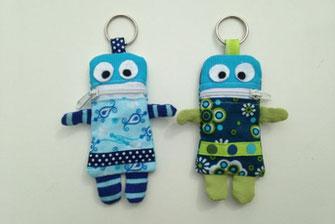 Sorgenfresser, Mini-Monster blau und grün als Schlüsselanhänger, nordblau