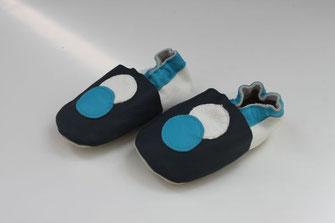 Lederfinkli mit Punkt blau und weiss, nordblau