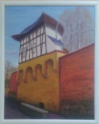 Pulverturm in Zwickau, Acryl 2018