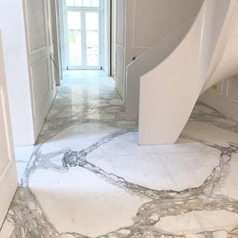 calacatta marble entrance