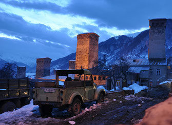 Oldtimers and the unique towers create a special atmosphere in Mestia, 18/02/2016.