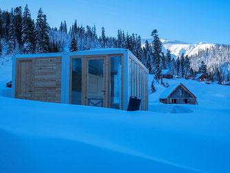 Unsere mobilen Container als Test für unsere Mobile Lodge. © Tobias Luthe.
