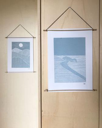 Décoration ikken - Affiches Collines & Rivage - bleu gris