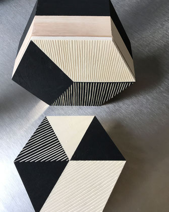 Décoration ikken - Boîtes Lignes Hexagone