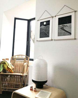Décoration ikken - Affiches Collines & Rivage - noir
