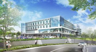 逗子市が誘致する葵会の現時点での病院完成予想図