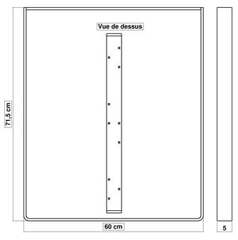 Dimensions pied de table de cuisine BaYa 715 x 600 mm