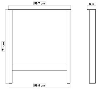 pied de table en métal pour cuisine 71 cm x 60 cm