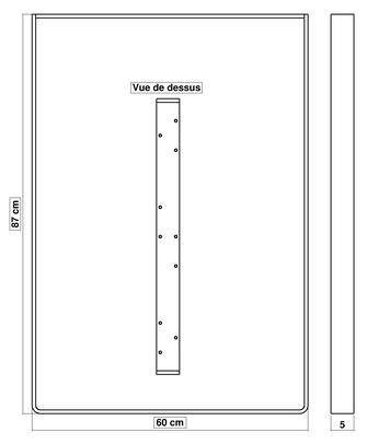 Dimensions pied de table de cuisine BaYa 870 x 600 mm