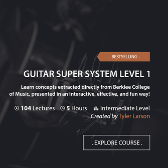 Online Music Courses - Guitar Super System Level 1. Learn concepts extracted directly from Berklee College of Music, presented in an interactive, effective, and fun way! Art God & Love Inc. Copyrights ©2017