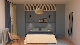 Dressing sur mesure avec tête de lit intégrée, rangements, architecture d'intérieur