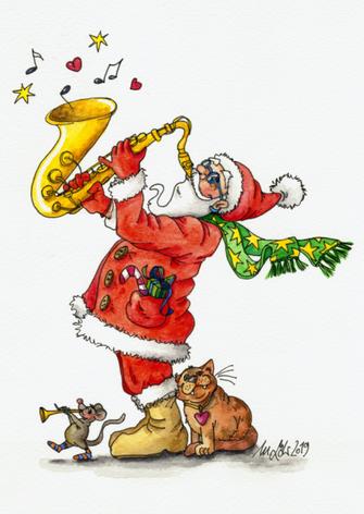 Weihnachtspostkarte musizierender Weihnachtsmann