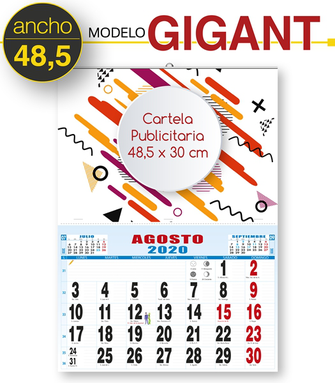 Calendario de pared con cartela publicitaria