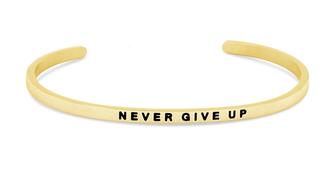 Armreif vergoldet Never give up