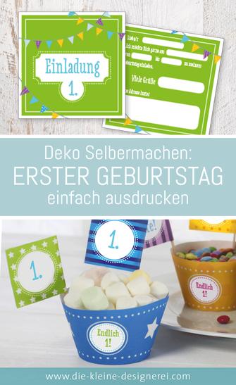 Den ersten Kindergeburtstag feiern. Die Vorlagen ausdrucken, basteln und feiern. Herunterladen auf www.alles-zum-ausdrucken.de