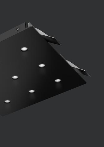 3D-Rendering einer rechteckigen, schwarzen Deckenleuchte