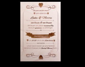 taf-Laser, Holzgravur, Hochzeitsmenü, Lasergravur, Gravur auf Holz, Hochzeitsartikel aus Holz