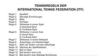 Tennisregeln ITF