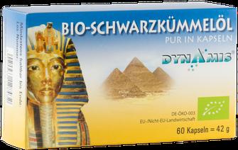 BIO Schwarzkümmelöl Kapseln PUR von Firma Dynamis Gesundheitsprodukte GmbH. Hergestellt in Deutschland aus ägyptischem kaltgepressten Öl.