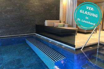 Spritzschutzverglasung Verglasung Hotel Schwimmbad St. Leonhard im Pitztal