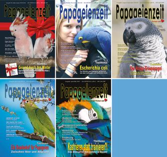 Die Ausgaben der Papageienzeit aus dem Jahrgang 2013 mit  start der ersten Printausgabe, zuvor gab es nur ein Online-Magazin