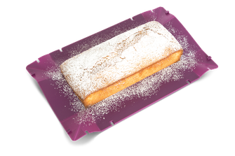 coox Wunderform aufgefaltet mit Zitronenkuchen und Puderzucker, Silikon-Backform, Kuchen, faltbare Backform, Silikon-Backform zum Falten, kochen, backen