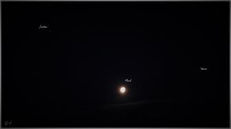 Der Mond zwischen den beiden Gasriesen Jupiter & Saturn