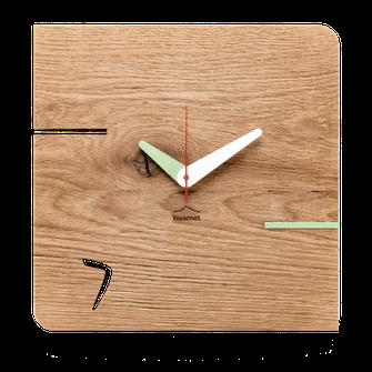 Eiche Wanduhr Holz Quarz Uhrwerk
