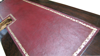 Classic color leather for desk - Conti Borbone - Old gold decortion