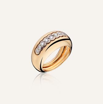 "Ring ""Bombay Inlay"" in 18-Karat pink gold with round brilliants. 100% Swiss handmade"
