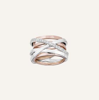 "Ring""Birds-Nest"" in 18-Karat white and pink gold with round brilliants. 100% Swiss handmade"