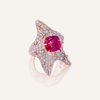 """Ring """"Starfish"""" in 18-karat pink gold with one spinel and round brilliants. 100% Swiss handmade"""