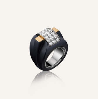 """Ring """"Ponte"""" in 18-Karat white and pink gold with round brilliants. 100% Swiss handmade"""