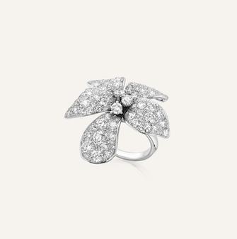 "Ring ""La Rose"" in 18-Karat white gold with round brilliants. 100% Swiss handmade"
