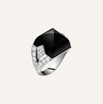 """1 Ring """"Art Déco"""" in white gold with onyx and round brilliants. 100% Swiss handmade"""