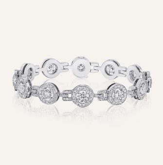 """Bracelet """"Élégance"""" in 18-Karat white gold with round brilliants. 100% Swiss handmade"""