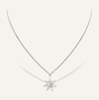 "High Jewelry Pendant ""Edelweiss"" in 18-Karat white gold with round brilliants.  100% Swiss handmade"
