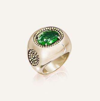 """Ring """"Poison Vert"""" in 18-Karat yellow gold with Tsavorite and yellow diamonds. 100% Swiss handmade"""