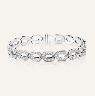 """Bracelet """"Hexagon"""" in 18-Karat white gold with round brilliants. 100% Swiss handmade"""