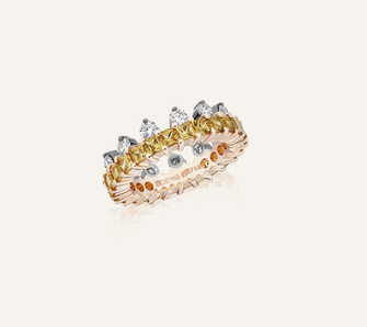 """Ring """"The Crown"""" in 18-Karat white and pink gold with yellow sapphires and brilliants. 100% Swiss handmade"""