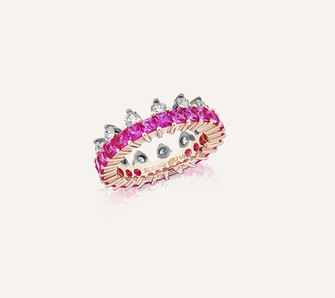 """Ring """"The Crown"""" in 18-Karat white and pink gold with pink sapphires and brilliants. 100% Swiss handmade"""