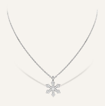 House of Snowflake Pendant No1 in 18-Karat white gold with round brilliants. 100% Swiss handmade
