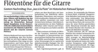 Konzert in Speyer, Die Rheinpfalz am 19.09.2017 von Rainer Köhl