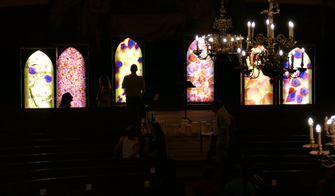 #SylvieLander - Vitraux Nomades- Nuit de Lumière- Performance IN-EI -Eglise Saint-Thomas-Strasbourg