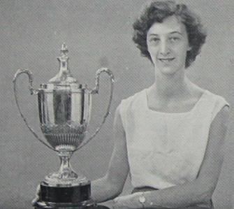 Margaret Erskine with WAAA long jump trophy 1950