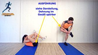 statische Dehnung, Gesäßmuskel, Stretchingübungen, Physio Übungen