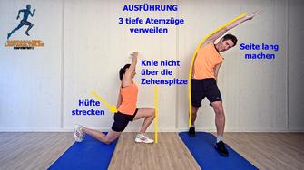 statische Dehnung, Hüftbeuger, seitlicher Rumpf,Stretchingübungen, Physio Übungen