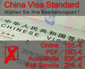Standard China Visa Bearbeitungsarten